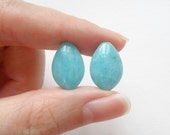 Peruvian Amazonite Half Top Drilled Smooth Flat Marquise Drops 10x15x6 mm One Pair H5743