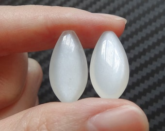 A+ Grade Silvery White Moonstone Half Drilled Marquise Drops 10x20x6 mm  One Pair - Perfect for earrings K5611