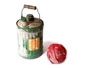 Vintage Kerosene Can - One Gallon Galvanized Steel Gas Can - Wood Handled Fuel Container - Green Chippy Paint - Danger Kerosene Label