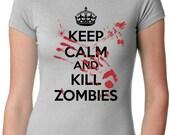 Women's Bloody Zombie T-Shirt scary halloween, call , dead, duty, fear, zombie apocalypse, walking, plants vs, horror S-2XL