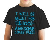 Youth Awesome Comes Free T-Shirt back to school, girls, boys, clothes, kids, children, christmas gift, little, sister, brother, big S-XL