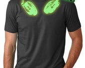 MENS GLOW Headphones T-Shirt back to school, guys shirts, gifts for guys, music,halloween, black light party,costume, shirts for teens S-XL