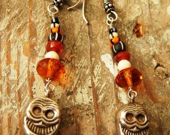 Sterling Silver Nepal Skulls African Trade Beads Carnelian Stones Amber Crystal And Bone Dangle Earrings