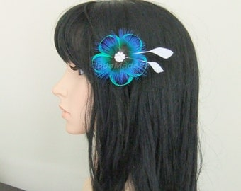 Peacock Feather Hair Clip Flower, Peacock Feather Fascinator Headband Hat Clip Hair Accessories, Teal Blue White, Peacock Wedding