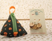 Pumpkin & Fall limited edition Tiny Triangle bag and Knitting Stitch Markers Set. Pyramid bag, little knitting treasure bag