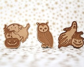 Halloween Cross Stitch Needle Minder, Ghost, Night Owl  Wood Magnetic Needle Minder. Hand embroidery, Needle Keeper. Pumpkin magnet