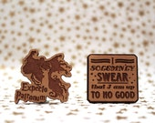 Expecto Patronum, I Solemnly Swear Cross Stitch Needle Minder, Wood Magnetic Needle Minder. Hand embroidery, Needle Keeper. HP inspired