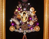 Vintage Jewelry Framed Christmas Tree~Purple GUARDIAN ANGEL~Black Velvet~A Guardian Angel to Watch Over You ~ Keepsake