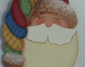 Santa, Christmas, wall hanger, door hanger, patchwork hat, fur, handpainted