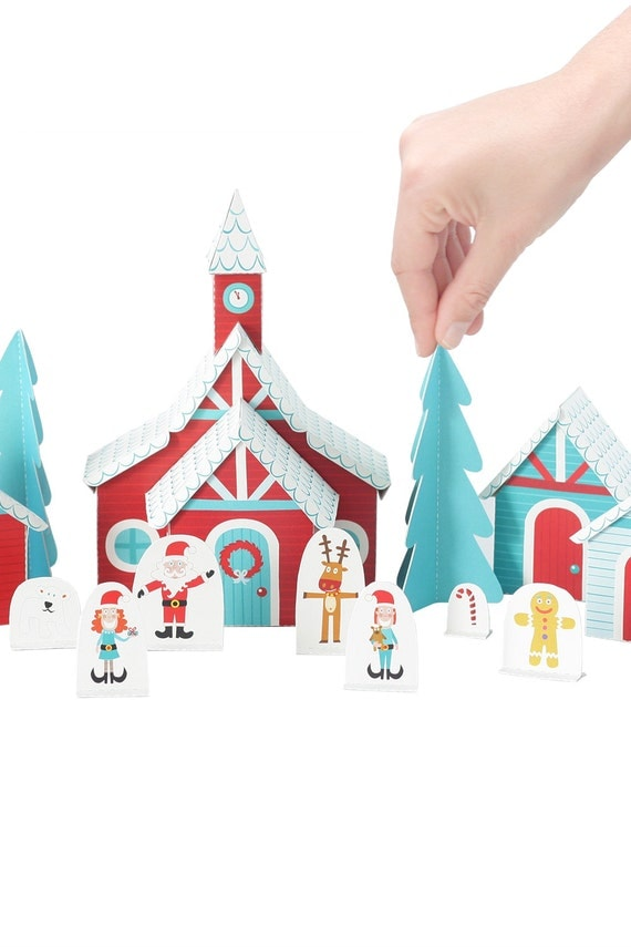 Christmas Paper Village - DIY Paper Craft Kit - Paper Toy - Holiday Toy