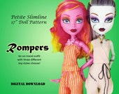 """Romper doll clothes pattern for 17"""" Petite Slimline Fashion Dolls: Gooliope, Frightfully Tall Monster High, Ever After High"""