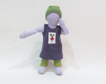 """Eco-Friendly knit dress for 7"""" doll, up-cycled cotton and organic cotton doll outfit, pocket doll clothes, tiny travel doll, dress up doll"""