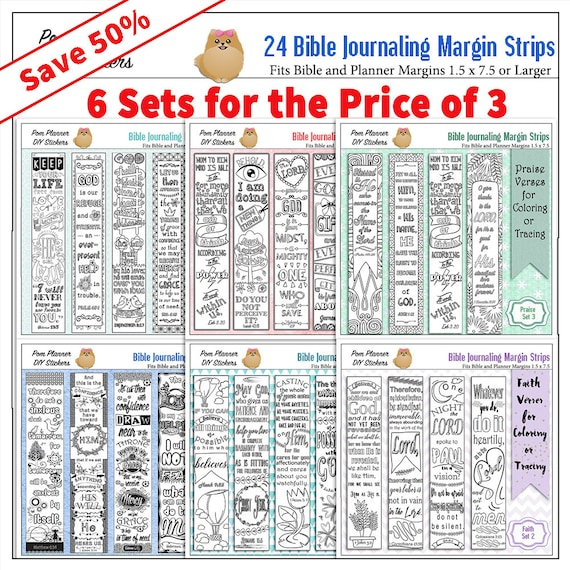 Save 50% Get 24 Bible Margin Strips to Color fits widemargin Bibles and planners