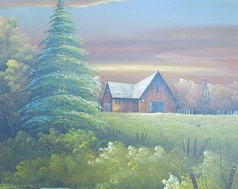 Everett Woodson Oil Painting Large Vintage Oil on Canvas Log Barn Landscape Pond Lake Scene Oil PaintingFramed