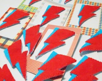 Aladdin Sane Lightning Bolt in Silk & Felt Bowie Badge
