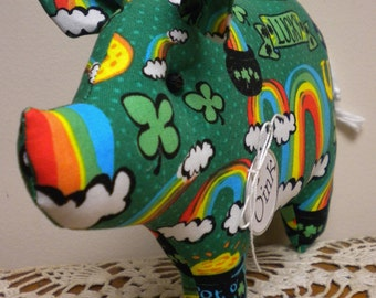 St. Patrick's Day Pig - Made To Order, St. Patrick's Day Decor, Primitive Pigs