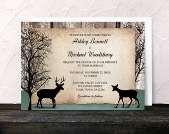 Rustic Woodsy Deer Wedding Invitations and RSVP - Outdoorsy Winter Trees Deer - Printed Invitations