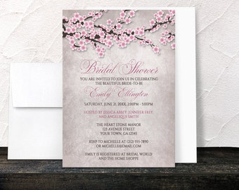 Cherry Blossom Bridal Shower Invitations - Rustic Vintage Pink Cherry Blossom Branches - Printed Invitations