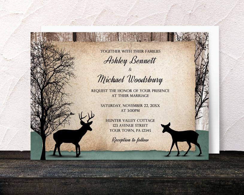 Deer Wedding Invitations: Rustic Woodsy Deer Wedding Invitations And By