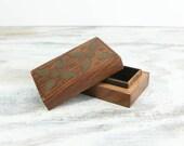 Vintage Small Brass Inlay Wood Trinket Box