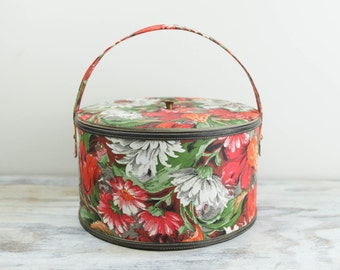 Vintage Vinyl Padded Sewing Basket w/ mod red, green and white design. See item details for full description.