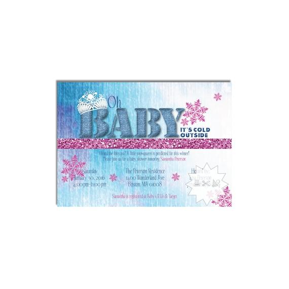 winter wonderland baby shower invitation snowflake invitation digital