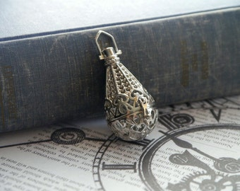 LARGE Antique Silver Teardrop Locket OPENS Hollow Diffuser Necklace Pendant Charm 48mm (SC2802)