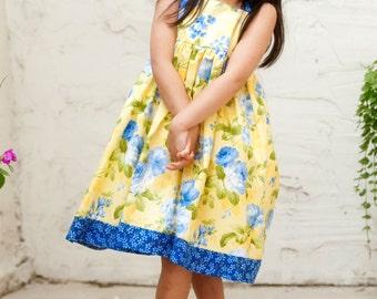 Floral Dress - Girls Dress - Special Occasion -  Knot Dress - Wedding - Flower Girl - Shabby Chic - Yellow - KK Children Designs - 2T to 8