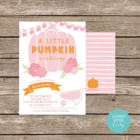 LITTLE PUMPKIN themed Baby Shower Invitation- Lovely Little Party