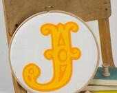 Initial art - Children's room art - Circus font initial - Embroidery hoop art - Felt appliqué art - Gift for children's room - New baby gift