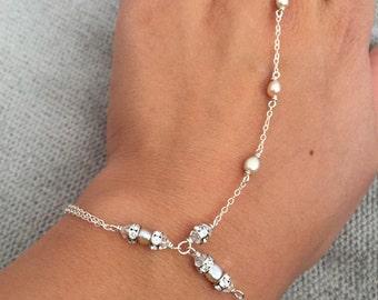 Boho Hand Chain Bracelet, As Seen on Alvina Valenta's Lookbook, Chain Ring Bracelet, Bohemian Hand Chain, 14k gold fill or sterling silver
