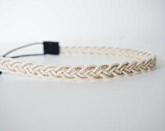 Cream and Brown Braided Jute Trim Headband