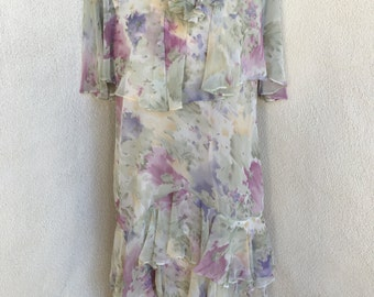 Sale Vintage chiffon floral dress by Ursula Switzerland sz 12/14 tiered