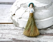 Flapper Half Doll with Cloche Hat Clothing Brush Horse Hiar Whisk Broom Art Deco Figurine 1930's