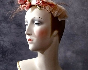 Vintage Fascinator Peachy Pink Chiffon and Metallic Silk Millinery Flowers 1920's