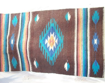 Vintage Ranch Rug ~ Cabin Decor ~ Woven Texture ~ Vintage Southwestern / Western Style ~ Wall Hanging  ~  Blanket with Turquoise Blue