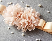 Bridal Flower Sash Belt - Wedding Dress Sashes Belts - Beige Gold Khaki Champagne Chiffon Flowers Ribbon Belt Flower Girl Bridesmaid