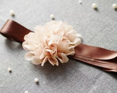 Bridal Sash Belt - Wedding Dress Sashes Belts - Chocolate Brown Khaki Tan Beige Flower Girl Bridesmaids Ribbon Belt