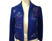 vintage 1940s Mexican souvenir jacket / wool felt / blue / Mexico / women's vintage jacket / size medium
