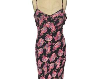 vintage 1990s BETSEY JOHNSON floral dress / black pink / rayon jersey / bodycon dress / women's vintage dress / size medium