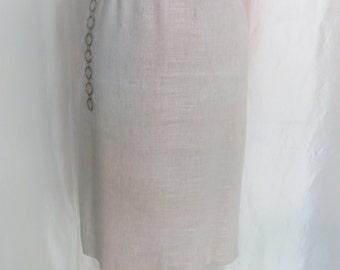 Vintage 70s womens straight skirt, beige linen skirt size 10