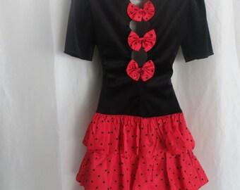 Vintage womens red black polka dot dress, ruffle party dress, Halloween costume dress, adult little girl costume