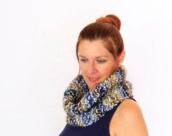 Snood chunky cowl, Eris, blue beige neutral snood chunky cowl women winter fashion, ready to ship
