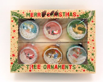 1960s Vintage Glass Diorama Christmas Holiday Ornaments Boxed Set of 6