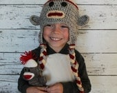 Sock Monkey Crocheted Hat for Newborn to Child, Monkey Hat,  Photography Prop, Made to Order