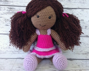 Lucy the Doll, Crochet Doll Stuffed Toy, Baby Doll Amigurumi, Plush Animal, Ready to Ship