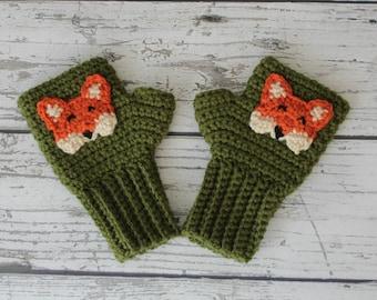 Fox Fingerless Gloves, Crochet Wrist warmers, Made to Order