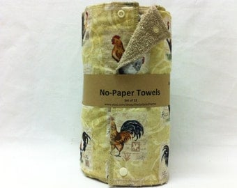 Reusable No-Paper Towels - Fancy Roosters