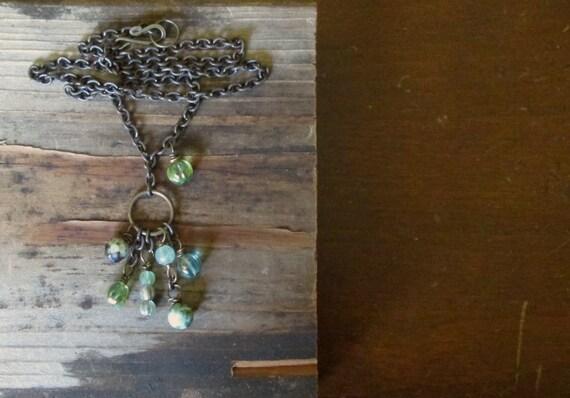 Forest Green Charm Necklace boho rustic jasper gem fluorite lichen moss organic by Nancelpancel on Etsy