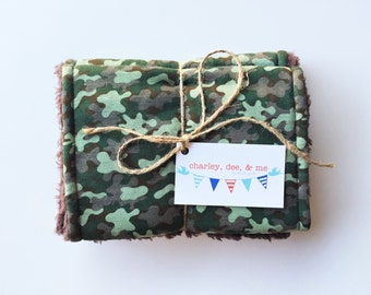 Camo Burp Cloths, Military Army Baby Shower, Hunting Baby Gift, Super Soft Burpees, Gift Set of 3, Free Shipping, Ready to Ship, Camoflague